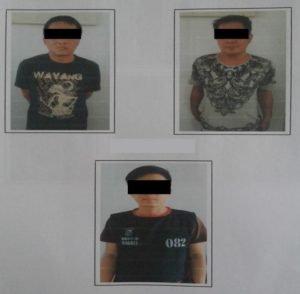 Tiga tersangka diamankan Polda Sulut. (foto: Ist)